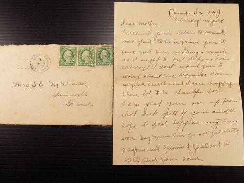 WWI Letter Home 1918 Send ASPIRIN & QUININE Home Makes $16.60 a month
