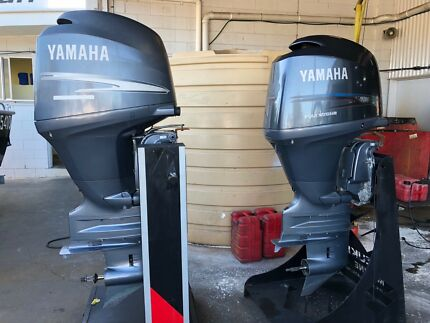 Twin Yamaha F150 four-stroke outboards