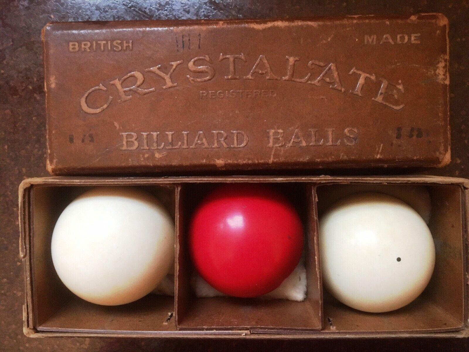Vintage Crystalate Billiard Balls Burroughes and Watts Ltd  Original Box  CLEAN