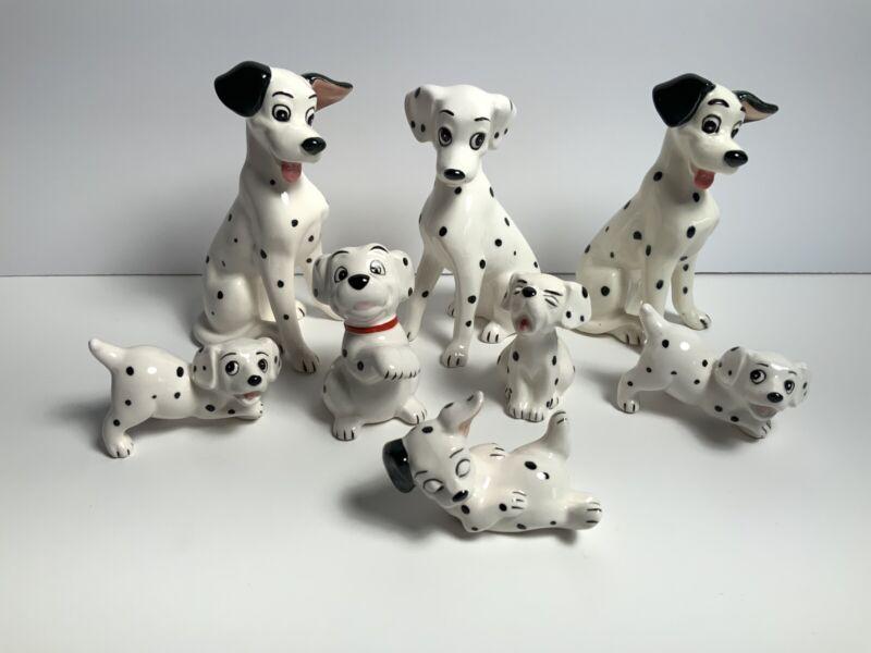 Walt Disney Production Lot 8 Figures 101 Dalmatians Dog Ceramic Japan VTG
