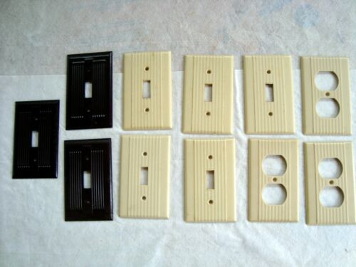 Vintage ART DECO SWITCH PLATES ELECTRIC OUTLET COVERS LEVITON & National tool NJ