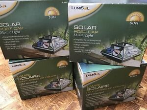 4 Solar post cap Mosaic lights, NEW