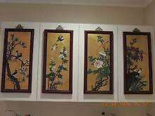 Set 4 Chinese antique Four Seasons gold and enamel wall panels Hunters Hill Hunters Hill Area Preview