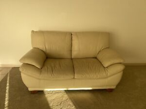 Off white leather sofa and two chairs