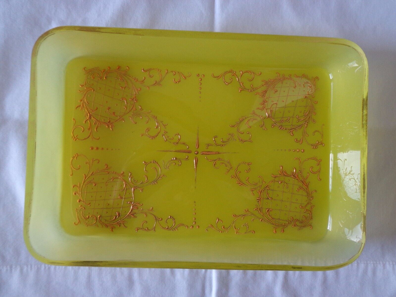 Antique Victorian French Opaline Yellow Hand Painted Gold Gilt Vanity Tray Dish
