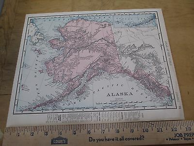 1898 Colored State Map of Alaska with Canada on Reverse