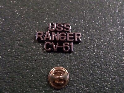 U.S MILITARY NAVY SHIP USS RANGER CV-61 HAT LAPEL PIN CLUTCH BACK