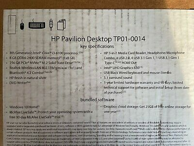 HP - Pavilion Desktop - Intel Core i3 - 8GB Memory - 256GB Solid State Drive ... segunda mano  Embacar hacia Mexico