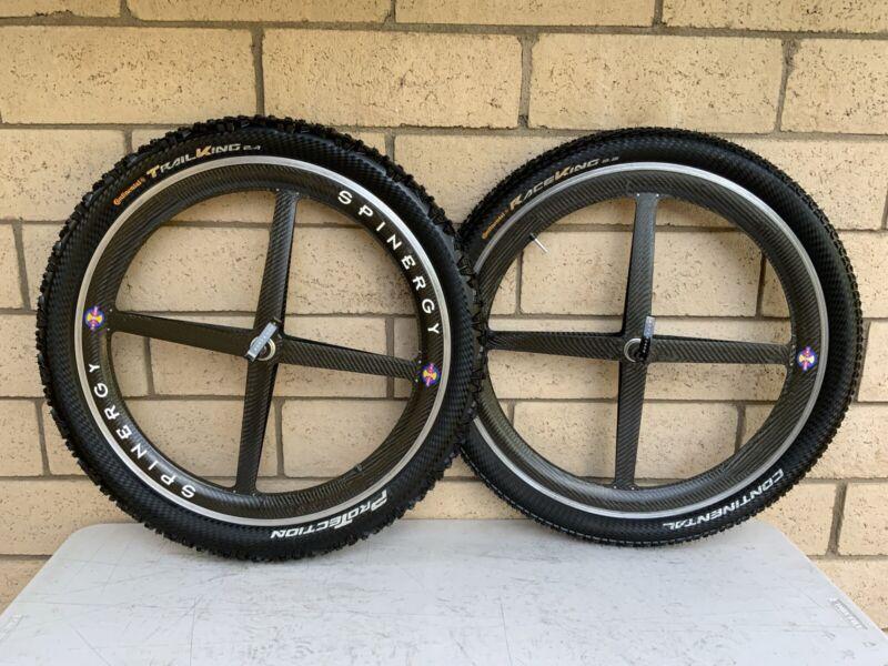 "Vintage Spinergy 26"" Carbon Fiber Wheels MTB Set Both front rear Continental"