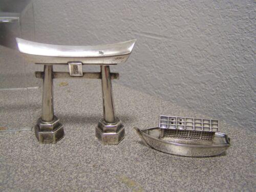 Japanese Silver Shinto Torii Gate & boat  Salt & Pepper Shakers vintage