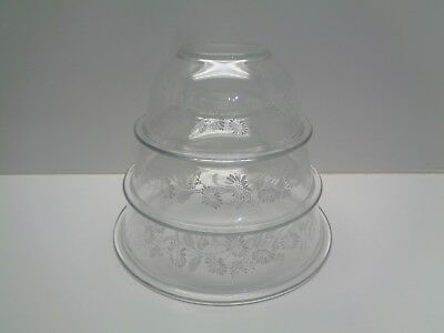 Vintage PYREX Set of 3 Clear COLONIAL MIST NESTING BOWLS