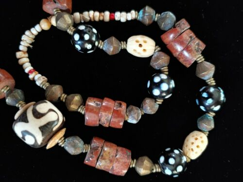 Vintage Tribal African Red Bauxite, Brass & Etched Wood Bead Necklace