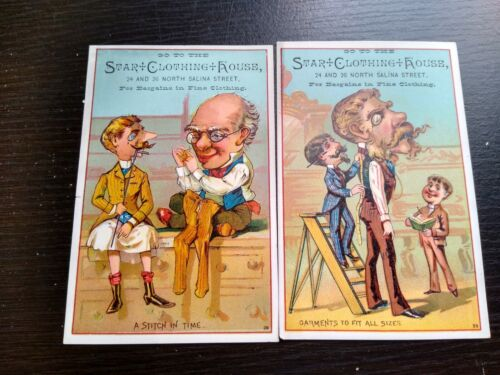 2 Star Clothing House Ad Trade Card Men Tailor Caricatures North Selina Street