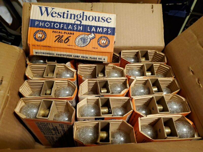 Vintage Case Westinghouse No.6 Photoflash Bulbs NEW OLD STOCK IOB