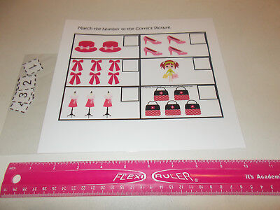 Glamour Girls Match the Number laminated preschool curriculum learning game. Day