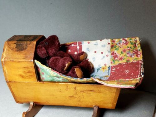 Antique Mauchline Ware MINI Wood Cradle Souvenir with Teddy Bear and Quilt