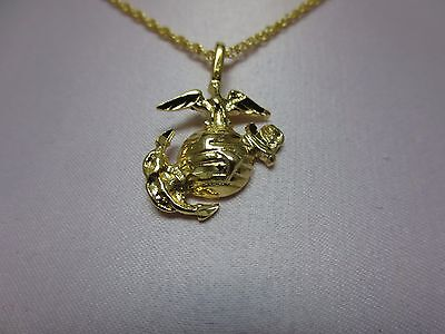 14 KT GOLD PLATED US  MARINE CORPS EMBLEM  PENDANT & ROPE CHAIN SET 16