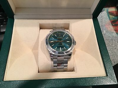 Rolex UNWORN Green Crystal Blue Milgauss 116400GV Box/Papers 40MM (NIS12)