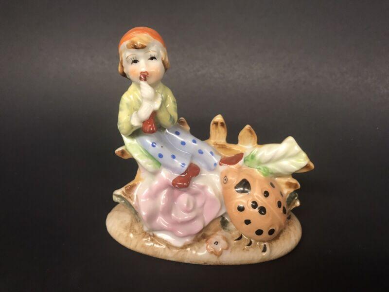 Vintage Elf Pixie Fairy Boy Playing Flute Ladybug Japan Hand Painted Figurine