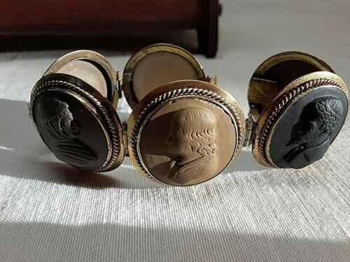 Antique Lava Cameo Bracelet 6 Cameos