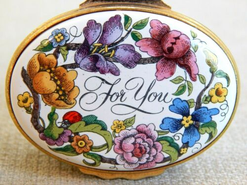 "Vintage HALCYON DAYS Enamel Over Copper Hinged Lid Box - Flowers, "" Thank You"""