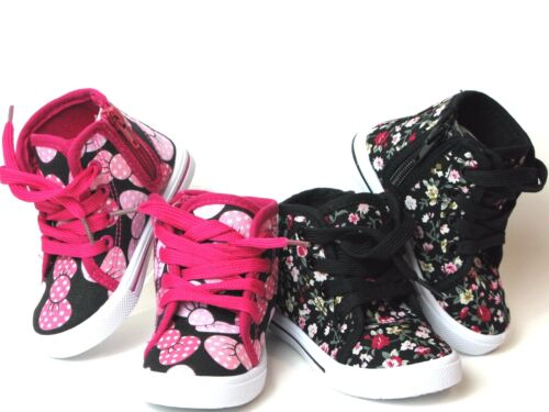 New  Baby Toddler Girls Canvas High Top Lace Up Shoes  Inside Zipper Sz 4-9