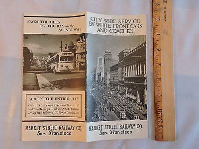 Rare 1943 Market St. Railway Trolley San Francisco California Transit 16x18 Map