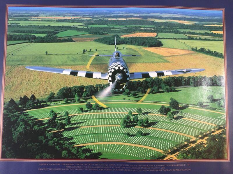 American Air Museum In Britain Poster P-47 Over Cambridge American Cemetery
