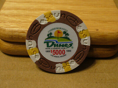 Dunes Clay Poker Chip (Dunes Poker Chip $5,000 Commemorative 9 gram Clay Composite NEW - FREE)