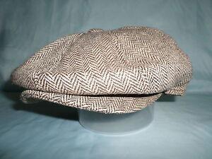 GENTS-BROWN-HERRINGBONE-HAT-NEWSBOY-BAKER-BOY-8-PANEL-1920S-STYLE-CAP