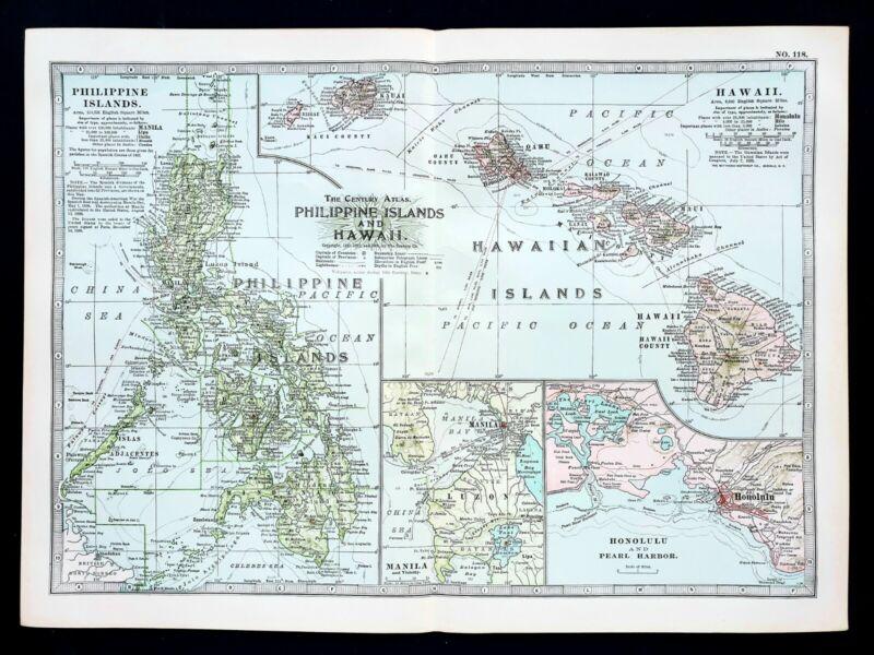1906 Philippines Hawaii Map Manila Honolulu Maui Luzon Oahu ORIGINAL