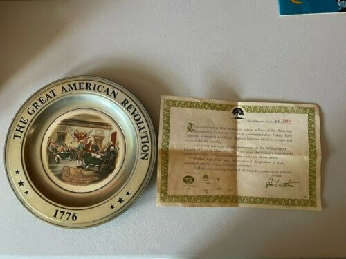 THE GREAT AMERICAN REVOLUTION 1776 PEWTER PLATES SET OF 6 CANTON OHIO