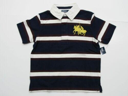 New tag Boys RALPH LAUREN N Blue White Short Sleeve Polo Shirt 2T 3T 4T Big Pony