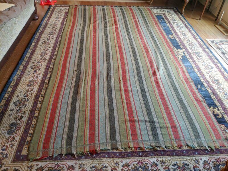 Antique 19th Century Fine Wool Striped Paisley Shawl Fringe