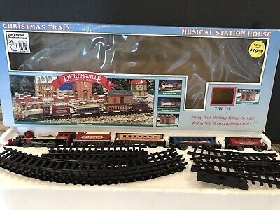 Vintage Dickensville Collectables Christmas Train Set Musical Station