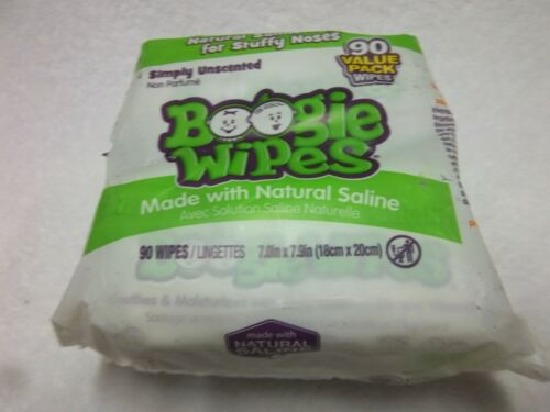 Boogie Wipes Saline Nose Wipes Unscented 2 packs 45ct each 90 wipes  NEW