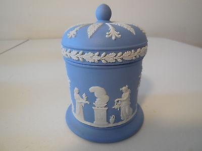 Wedgwood Blue Jasperware Covered Candy Dish, Embossed Figurals