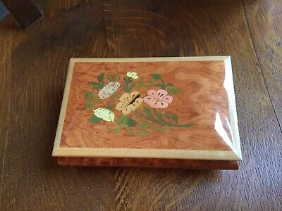 "7"" Exotic Wood Music Box made in Italy - Edelweiss Movement Swiss by Reuge"