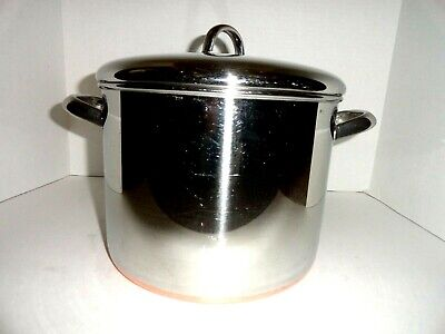 Revere Ware Heavy Bottom 10 Qt Stainless Steel Stock Pot W/ Lid Clinton ILL USA