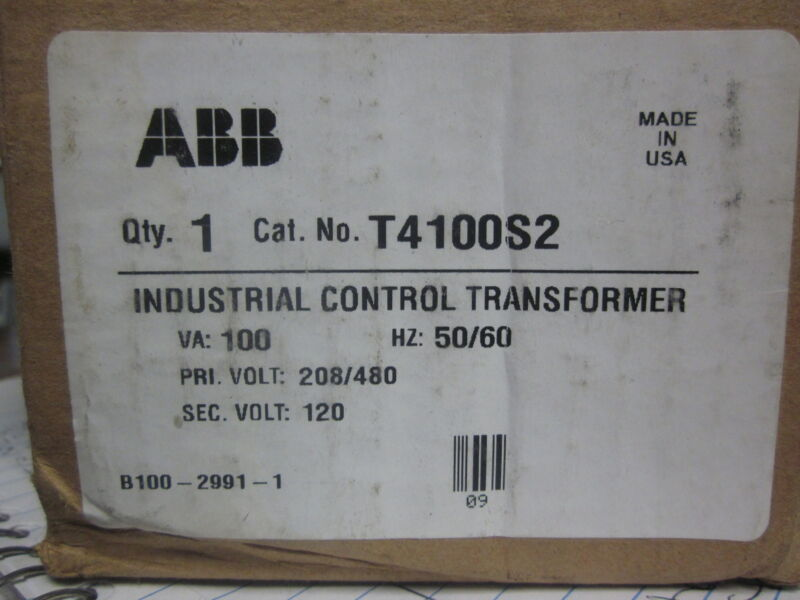 * NEW ABB  INDUSTRIAL CONTROL TRANSFORMER CAT No. T4100S2            YG-76A