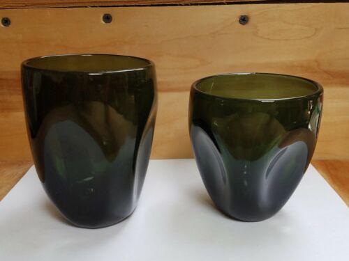 Imperial Oneida Glass? Pinch dark green 2 tumblers see description