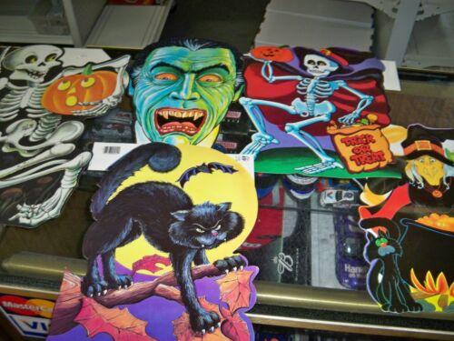 Vintage Lot 5 Halloween Beistle Diecut Cutouts Witch Skeleton Dracula Black Cat