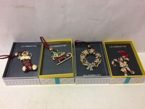 LIZ CLAIBORNE 2015 jeweled Christmas Ornaments Lot of 4 candy cane stocking