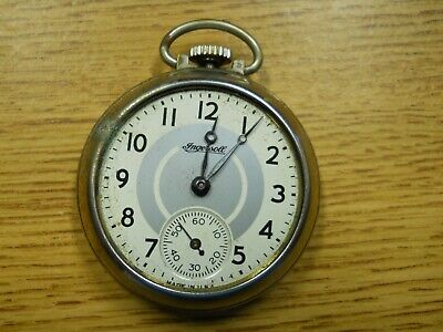Vintage Ingersol Pocket watch Runs Needs Crystal Some Corrosion On Metal