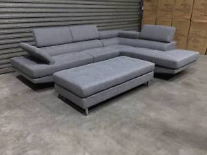 NEW L-SHAPE SOFA: ECLIPSE SHADOW TONE FABRIC ELEGANTLY NEAT Leumeah Campbelltown Area Preview