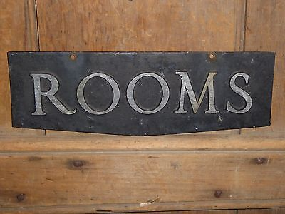 OLD ORIGINAL RARE ''ROOMS'' EMBOSSED METAL EARLY HOTEL SIGN VINTAGE ANTIQUE