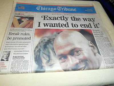 Chicago Tribune Newspaper Michael Jordan Retirement