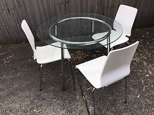 Round Glass 3 Seater Dining Table Drummoyne Canada Bay Area Preview
