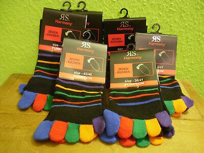 1-2-4-6 Paar Zehensocken Ringel schwarz bunt Gr. 36 - 46 Socken Einzelzehen neu  ()