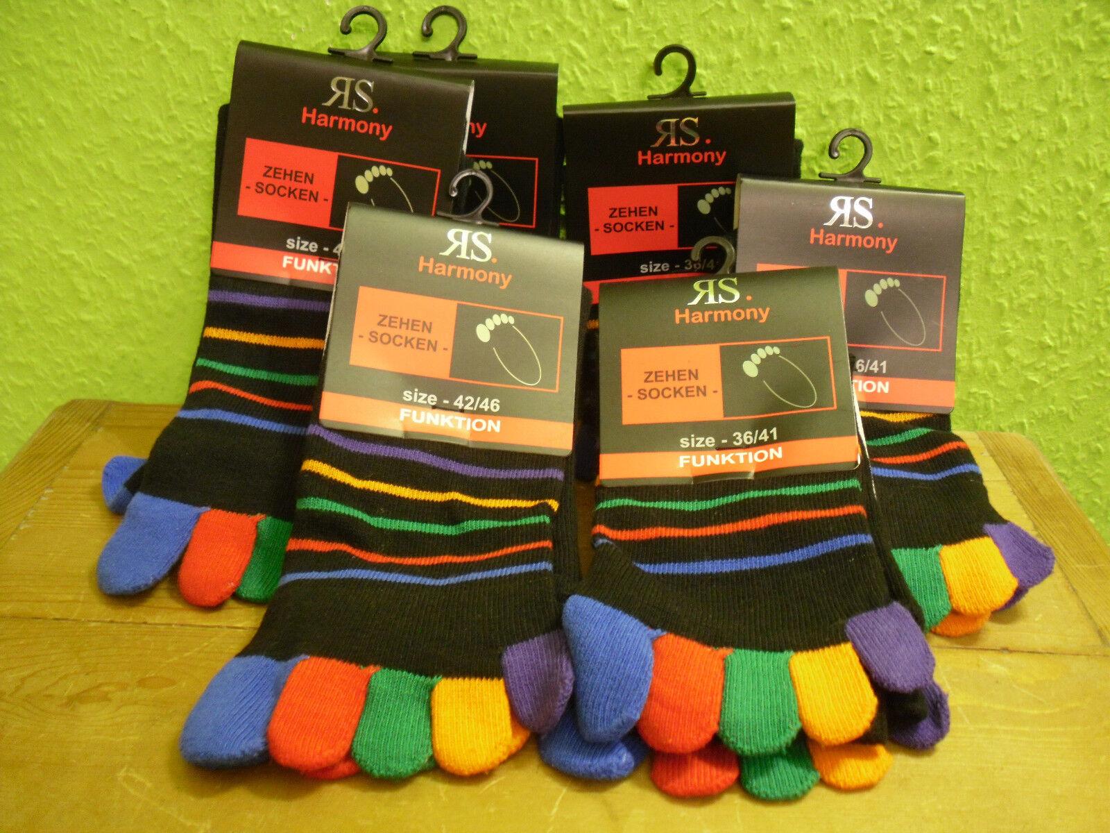 1-2-4-6 Paar Zehensocken Ringel schwarz bunt Gr. 36 - 46 Socken Einzelzehen neu